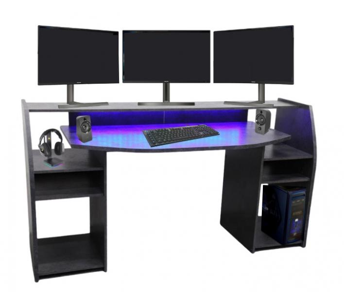 Gaming Tisch inkl. LED Beleuchtung, setup Gamer Ablagen, ULTRA wide TV Monitor geeignet