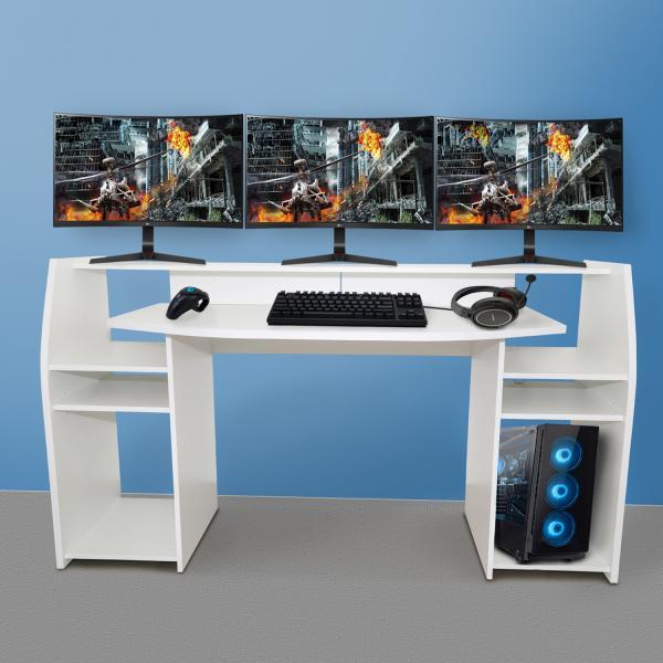 Gaming Tisch inkl. LED Beleuchtung, setup Gamer Ablagen, ULTRA wide TV Monitor geeignet Weiss matt