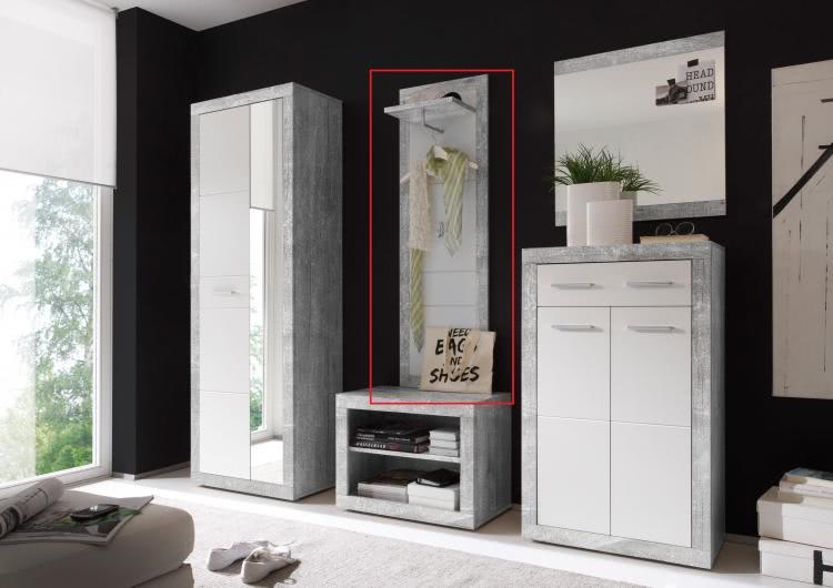 Garderobenpaneel STONE von First Look Beton / Weiß glanz