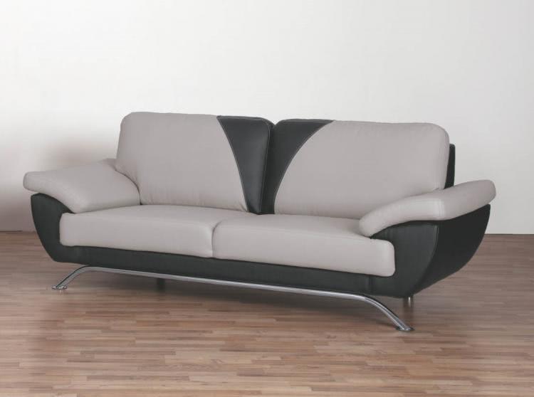 3-er Sofa GENF von Matex Hellgrau / Schwarz