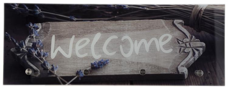 Glasgarderobe TOBI ca. 30x80 cm Motiv: Welcome von Spiegelprofi