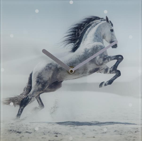 Glasuhr SIMON 25x25 cm Motiv: Pferd von Spiegelprofi