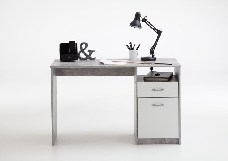 JACKSON Schreibtisch von FMD Beton / Weiß