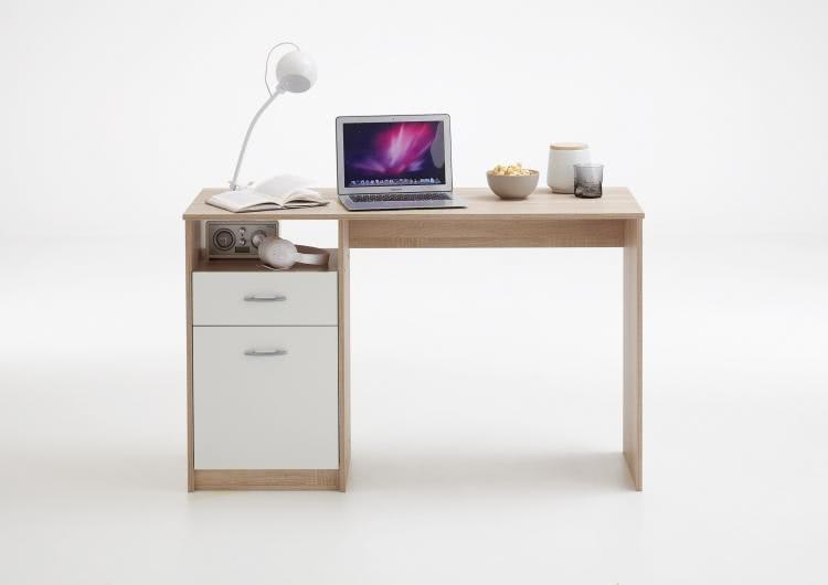 JACKSON Schreibtisch von FMD Eiche / Weiß