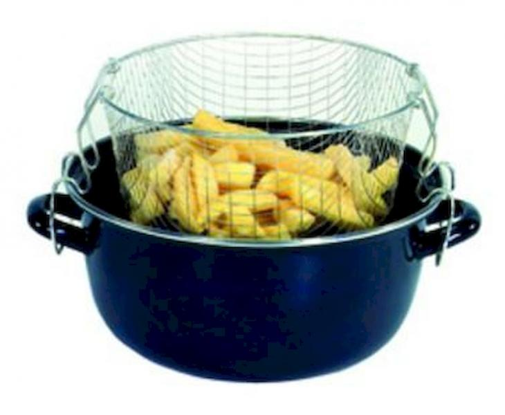 KARL KRÜGER Topf emailliert für Pommes Frites blau