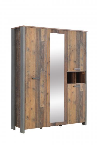Kleiderschrank 3-trg CLIF von Forte Old-Wood Vintage / Beton