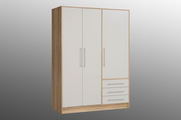 Kleiderschrank 3-trg Jupiter von Forte Sonoma Eiche / Weiss
