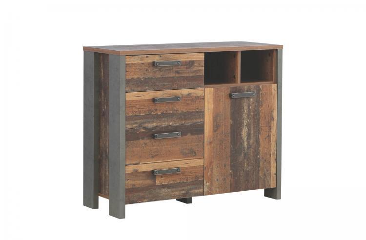 Kommode 1-trg 4 Schubkästen CLIF von Forte Old Wood Vintage / Betonoptik Dunkelgrau i