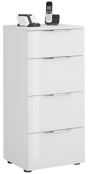 Schubkastenkommode 7804 TREND von MAJA Weiß matt / Weißglas