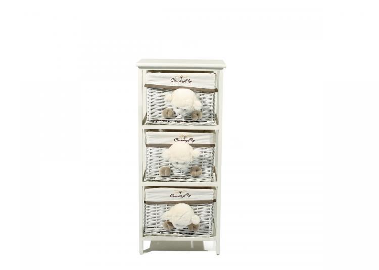 Korbschrank Sheep 206 Weiß / Grau von Kayoom