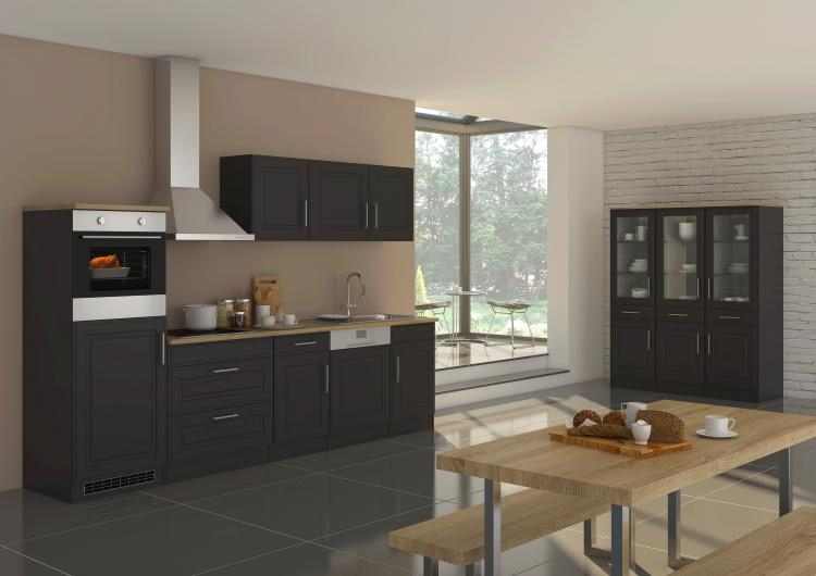 Küchenblock inkl E-Geräte und Geschirrspüler teilintegriert 300 cm breit ROM 300GS von Held Möbel Grafit / Matt Grau