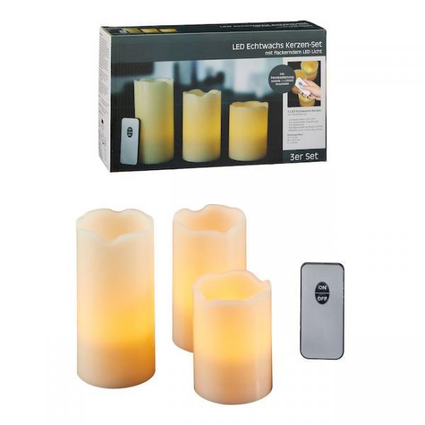 LED-Kerzen-Set BASIC 4tlg Echtwachs von CEPEWA Elfenbein