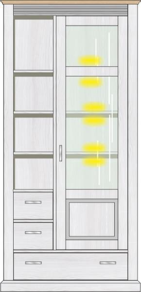 Vitrine inkl. LED-Beleuchtung ca. 99 cm breit Lima von Wohnconcept Pinie hell / Eiche hell