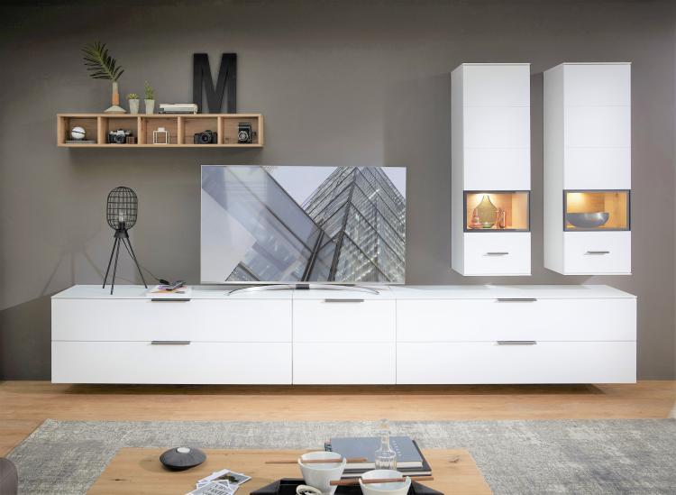 Wohnwand 6-tlg ca 340 cm breit inkl LED-Beleuchtung Mediana von Innostyle Weiss supermatt / Artisan Eiche