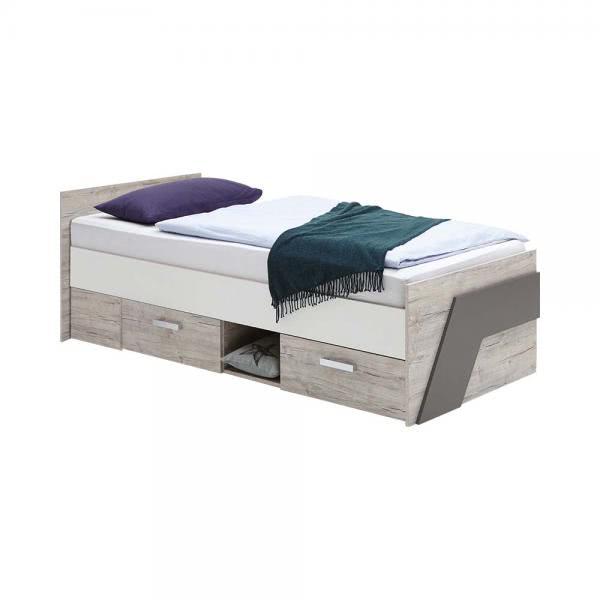 NONA 1 90x200 Bett inkl 2 Schubladen von FMD Sandeiche / Weiß / Lava