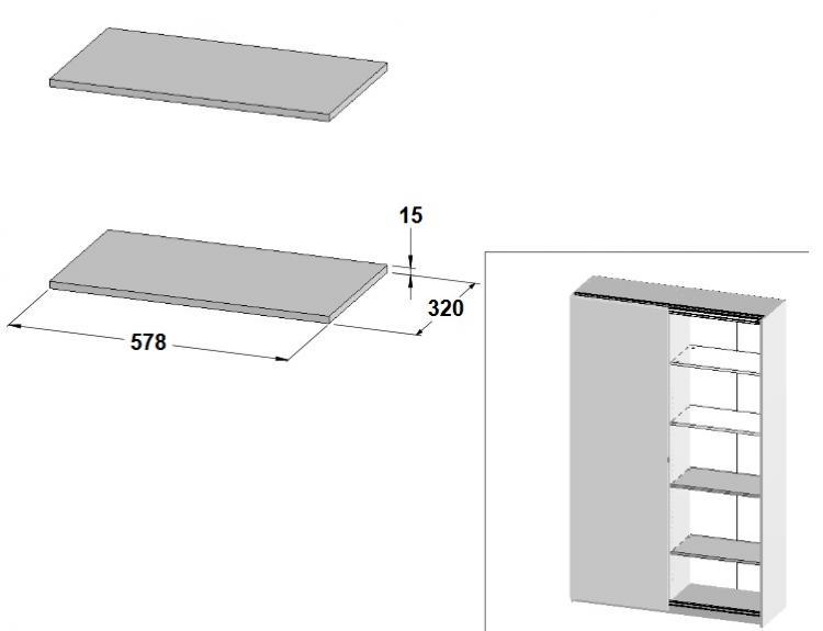 17026301 Einlegeböden 2er Set grau