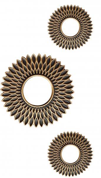 Rahmenspiegel 3er Set MICHELLE 3-teilig schwarz / goldfarbig von Spiegelprofi
