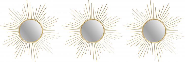 Rahmenspiegel 3er Set POLLY ca. Ø 25 cm goldfarbig von Spiegelprofi