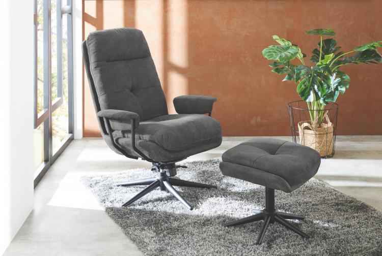 Relaxsessel drehbar inkl Hocker ELLY von Pro Com Dunkelgrau