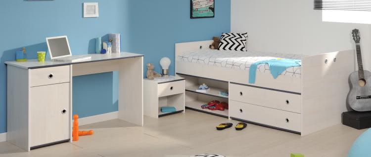 schlafzimmer 3 tlg inkl 90x200 stauraumbett u schreibtisch smoozy 27a von parisot kiefer weiss. Black Bedroom Furniture Sets. Home Design Ideas