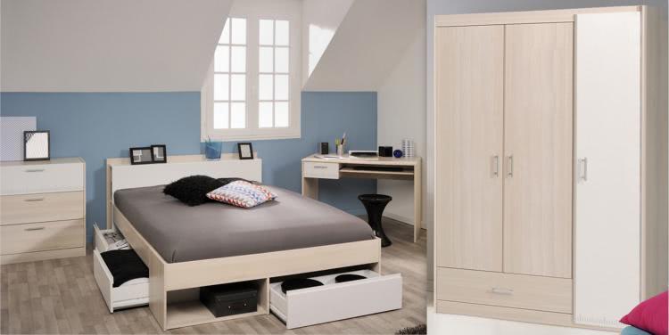 Schlafzimmer-Set 4-tlg inkl 140x200 Etagenbett u Kleiderschrank 3-trg Most 75 von Parisot Akazie / Weiss