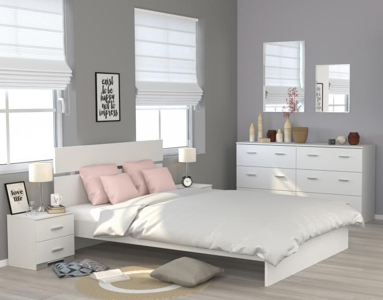 Schlafzimmerset 4-tlg inkl 160x200 Bett Galaxy 124 von Parisot Weiss
