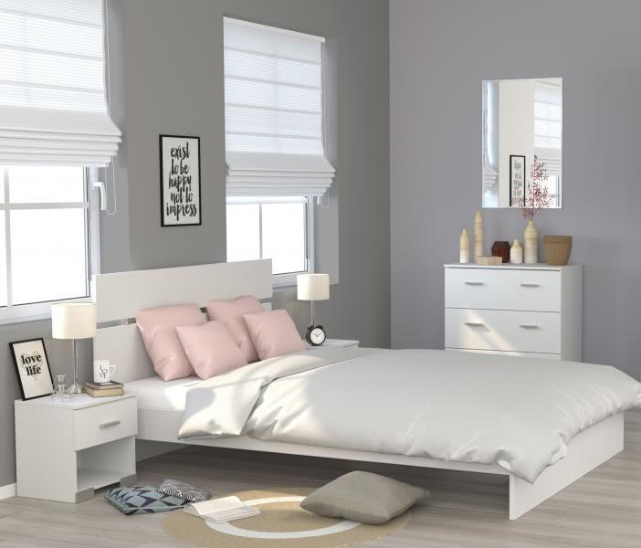 Schlafzimmerset 4-tlg inkl 160x200 Bett Galaxy 126 von Parisot Weiss