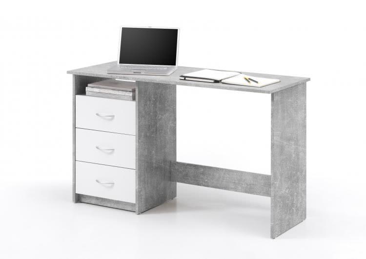 Schreibtisch 3 Schubkästen ADRIA von Bega Beton / Weiss