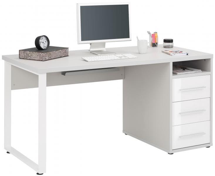Schreibtisch inkl 4 Schubladen OFFICE von MAJA Platingrau / Weißglas