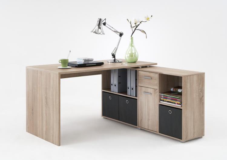 Schreibtisch Winkelkombi Eiche