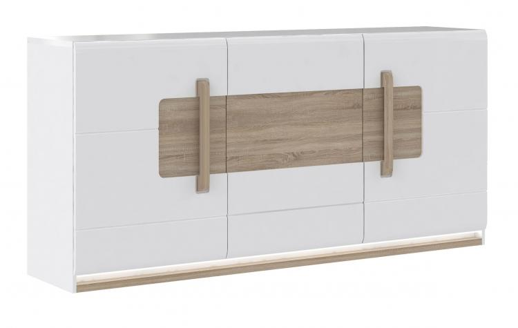 Sideboard 3-trg inkl LED-Beleuchtung Attention von Forte Weiss / Sonoma Eiche