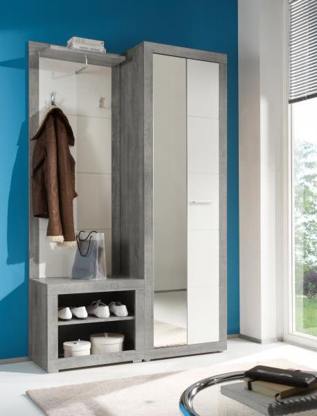 Garderobe 3 tlg stone von first look beton wei glanz for Garderobe 3 tlg