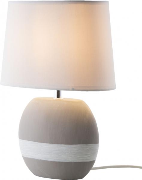 Tischleuchte 1-flg 33cm CRETO von Nino Keramik Grau / Schirm Weiß
