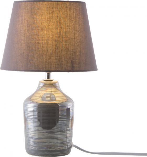 Tischleuchte 1-flg JULIA von Nino Keramik Taupe / Schirm Grau