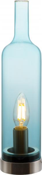 Tischleuchte BOTTLE von Nino Nickel matt / Glas blau