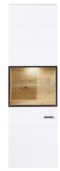 Vitrine 1-trg inkl LED-Beleuchtung Mediana von Innostyle Weiss supermatt / Artisan Eiche