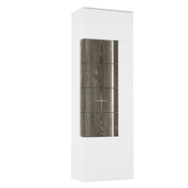 Vitrine ca 65 cm inkl LED Beleuchtung Babila von Forte Weiss / Picea Kiefer i
