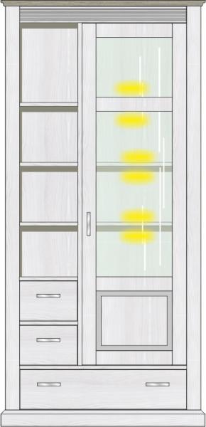 Vitrine inkl. LED-Beleuchtung ca. 99 cm breit Lima von Wohnconcept Pinie hell / Taupe