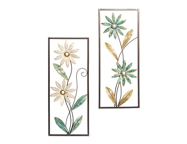 Wanddeko 1 Stück Blumen Metall mehrfarbig 2 Ausführungen von H. Denk GmbH Weiss / Grün