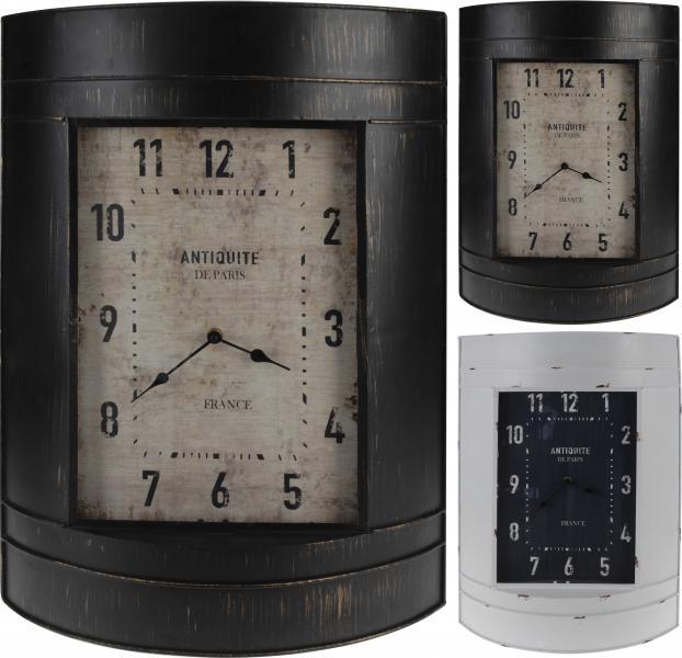 Wanduhr 39x12x55 cm  BARRELFORM Vintage Weiss / Braun von Koopman