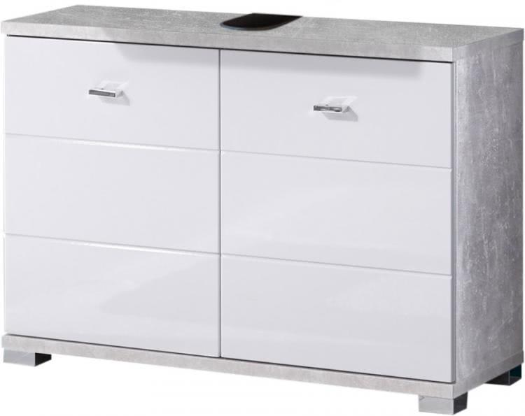 Waschbeckenunterschrank 2-trg POOL von Bega Beton / Weiss
