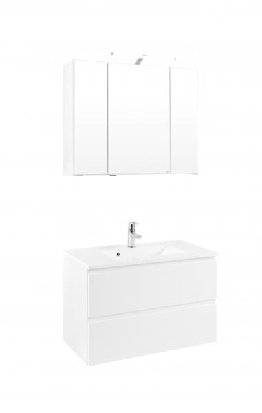 Waschtisch-Set 80 Cardiff inkl LED Beleuchtung von Held Möbel Weiß
