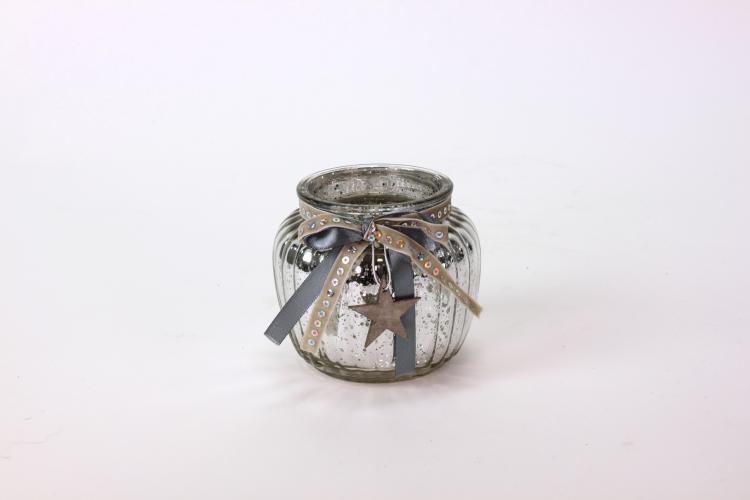 Windlicht mit Holzstern 11x10 Silber  von Werner Voss