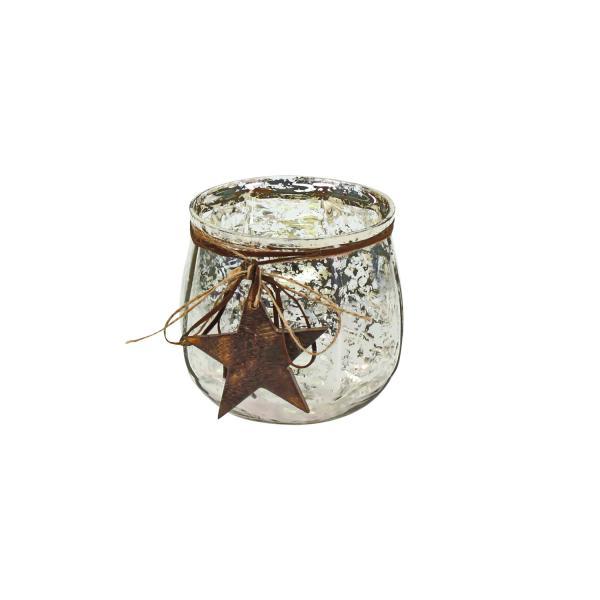 Windlicht mit Holzstern 12x12,5 Silber von Werner Voss