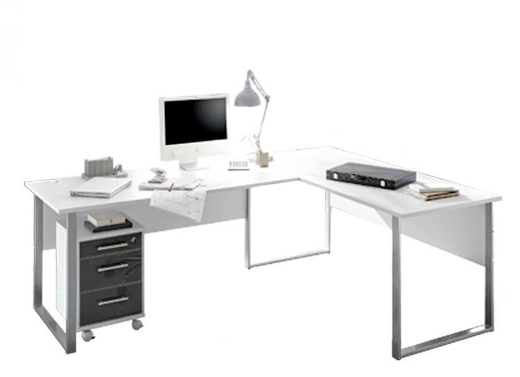 Winkelkombination Office Lux von Bega inkl. Rollcontainer Lichtgrau/Glas Graphit