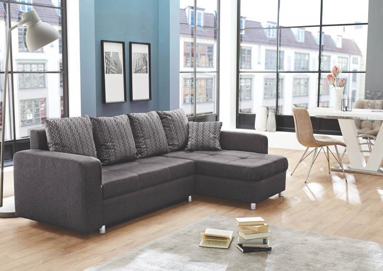 wohnlandschaft lyon r l mit bettkasten von job anthrazit. Black Bedroom Furniture Sets. Home Design Ideas