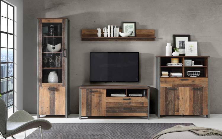 Wohnwand 4-tlg CLIF von Forte Old-Wood Vintage / Beton