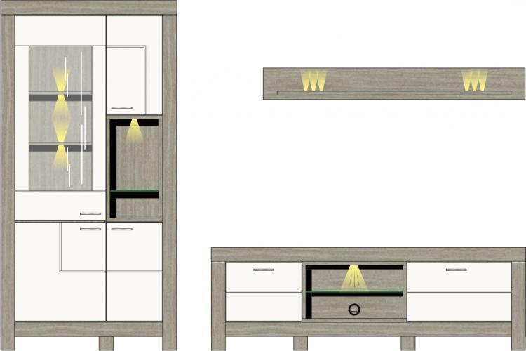 Wohwand 3-tlg inkl. LED-Beleuchtung ca 296 cm breit Granada von Wohnconcept Haveleiche / Weiss supermatt