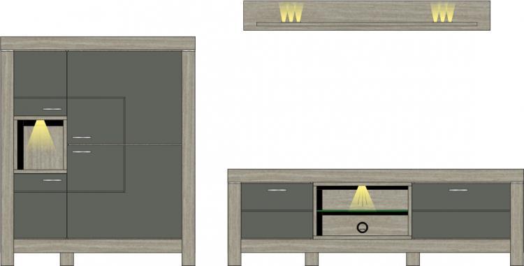 Wohwand 3-tlg inkl. LED-Beleuchtung ca 316 cm breit Granada von Wohnconcept Haveleiche / Beton dunkel