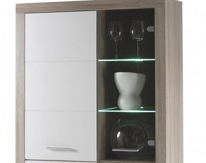 vitrine eiche sonoma weiss hochglanz mit glaseinheiten. Black Bedroom Furniture Sets. Home Design Ideas